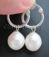 pearl earring - 925 silver hoop E7871 - 14mm natural white baroque freshwater
