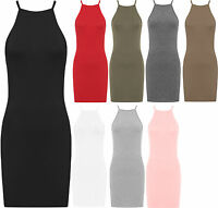 Womens Plain High Neck Camisole Strappy Bodycon Stretch Top Ladies Mini Dress