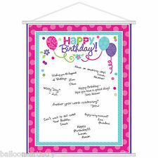 Joyful Pink & Teal Happy Birthday Party Wall Scroll Sign In Sheet Decoration