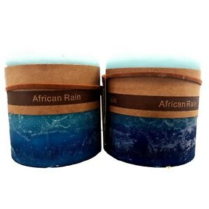2 X African Rain Scented Pillar Candle Candles Rustic Home Decor Fragrance 7x7cm
