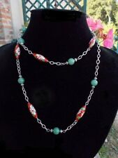 Collier perles cloisonnées rouges et perles vert jade, bijoux chinois sautoir