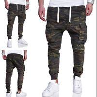 Men's Slim Fit Urban Straight Leg Trousers Casual Pencil Jogger Camo Cargo Pants