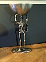 Spooky Night Halloween STANDING SKELETON Silver Metal WALKING DEAD wi/ bowl