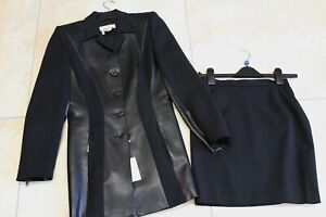 Vintage ESCADA Margaretha Ley Black short skirt & jacket Suit Sz 34 UK 6 / 8