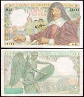 100 FRANCS 1942 FRANCE - Descartes - P101 (M.12)