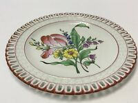 K & G Luneville France Pierced Edge Floral Plate 7 inches