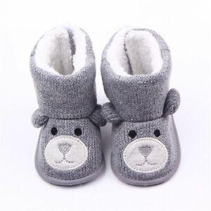Baby Winter Boots Infant Toddler Cute Cartoon Bear Loop Shoes Snowfield Booties