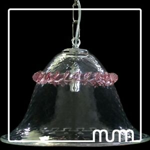 Chandelier Cooking Glass Murano Clear And Pink (Or Color Choice)