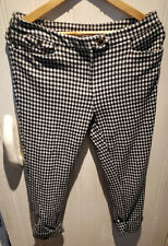 Anthropologie Essential Crop Flare Check Black White Women's Trousers UK 12