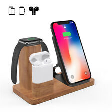3 in 1 Wood Charging Dock Wireless for AirPods/Apple Watch Series Samsung iPhone