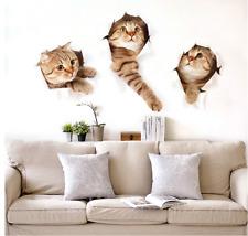 Cartoon Cat 3D Simulation Wall Sticker Bathroom Home Decor Decal Poster Stickers