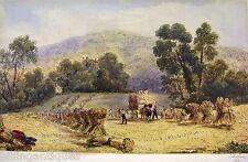 ENGLAND HARVESTING LANDSCAPE E.M.MAULE WATERCOLOUR 1845