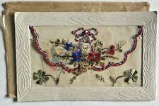 WW1 Silk Postcard c 1914-1917 Flowers of France, Insert Card, Envelope
