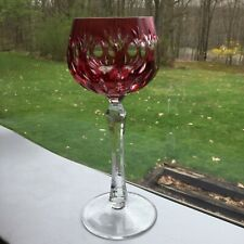 Ruby And Clear Cut Glass Wine Goblet