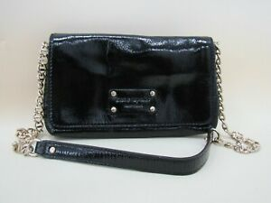 Kate Spade New York Women's Black Patent Leather Gold Chain Shoulder Bag