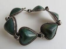 VTG Mexican Sterling Silver Green Stone Bracelet 7 hearts  pre 1950s
