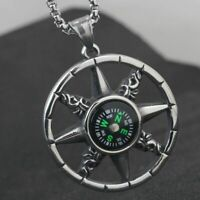 Vintage Mens Working Nautical Compass Necklace Pendant Stainless Steel Silver