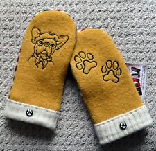 WOOL MITTENS - French Bulldog Dog  Embroidered, Handmade, Recycled Upcycled wool