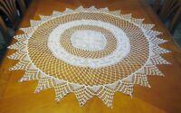 "Round handmade Crochet White Doily Table Cloth Topper 45"" Meanders Greek Motif"