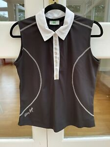 Ladies Golf Polo Shirt Daily Sports Black And White Trim Size Large