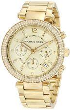 NEW MICHAEL KORS PARKER GOLD TONE,S/STEEL,CHRONO,CRYSTAL,BRACELET WATCH-MK5354