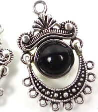 2 Silver Pewter Black Enamel Dangle Charms Earring Pendants ~ 32x21mm