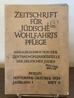 Journal for Jewish Welfare ~ Sept. Oct. 1929 ~ German ~ Lib. of Congress ~ RARE