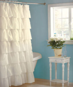 Shower Curtain Ruffled White French Country Style Fabric Shabby Sheek