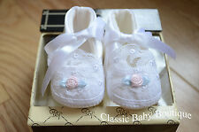 NWT Baby Deer White Satin Rose Lace Booties Crib Shoes Girls Newborn Size 0