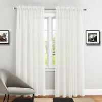 """PURE WHITE SLOT TOP SHEER SOFT FOLD VOILE NET CURTAIN PANEL/S 54"""" 72 """"90"""" DROPS"""