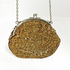 VINTAGE Look Hand Sewn Gold Satin Sequin Seed Bead Evening Purse Handbag Bag Cha