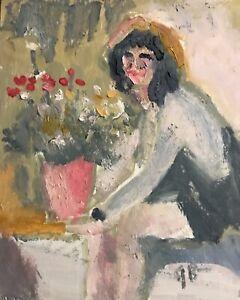 Original Oil Painting Portrait Woman Flowers Jeffrey Lloyd Barnes Artist of Life