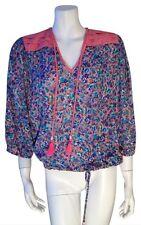 Diane Freis Ltd. Boho Vtg Romantic Floral Tassled 1980s Blouse Top - Sz Small