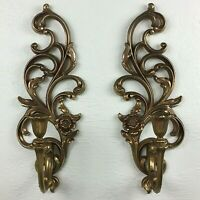 Vintage SYROCO INC.Goldtone Ornate Candle Holder Wall Sconce Pair 4531R USA