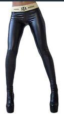 Leggings Sexy Kunstleder Skinny Wetlook Stretch schwarz, Sport Yoga Größe 38
