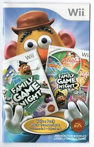 Hasbro Family Game Night Value Pack Nintendo Wii Instruction Manual Only