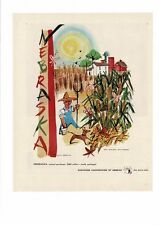 VINTAGE 1947 NEBRASKA FARMS FARMERS CORN STALKS HUSKS KEITH MARTIN AD PRINT
