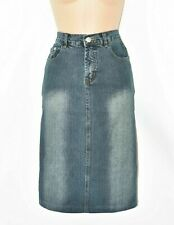 Women's Vintage KDJ Pencil Straight Midi Stretch Blue Denim Jean Skirt UK8 W27