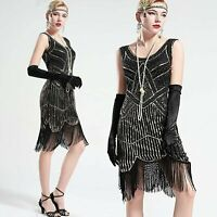 Vintage Black Unique 1920s Flapper Dress Roaring 20s Great Gatsby Dress Fringed
