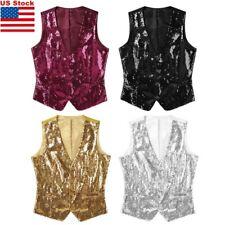 Men's Slim Fit Stylish Vest Waistcoat Sequins V-Neck Business Party Dress Suit