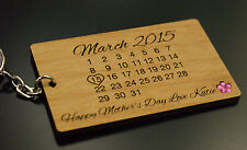 Personalised Real Wood Calendar Keyring Mother's Day, day you became my mummy