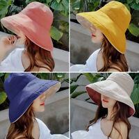 Women's Anti-UV Wide Brim Summer Beach Cap Cotton Bucket Sun Protective Hat