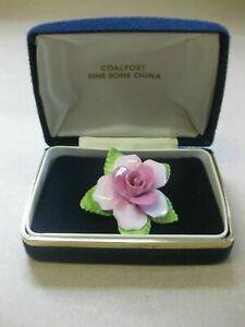 Vintage Coalport China Brooch ~ Pink Rose Flower ~ With Original Box