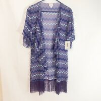 NWT LuLaRoe Monroe Small Sheer Kimono Open Front Cardigan Cover Up Purple Fringe