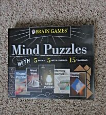 Brain Games Mind Puzzles 5 Books 5 Metal Puzzles 15 Tangrams New Sealed Box