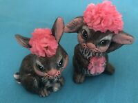 Adorable Vintage Hand Painted Bunny Figurines