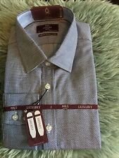 """M&S MENS LUXURY TWO FOLD COTTON SHIRT - TAILORED FIT - BLUE MIX - 17  """"- BNWT"""