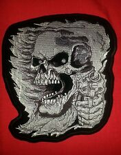 Skull Assassin six-gun  Large 9'' by 9.5'' Embroidered Patch.