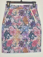 H&M Women's Cute Floral Geometric Pencil Skirt Size 4 Gold Zipper Pockets