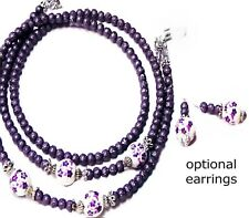 Reading glasses holder lanyard and earrings Purple, Porcelain, Pearl